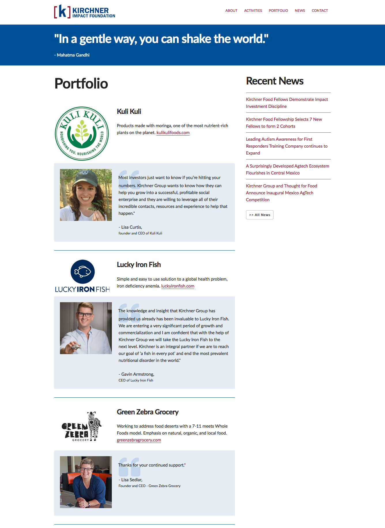 Kirchner Impact Foundation Portfolio Page